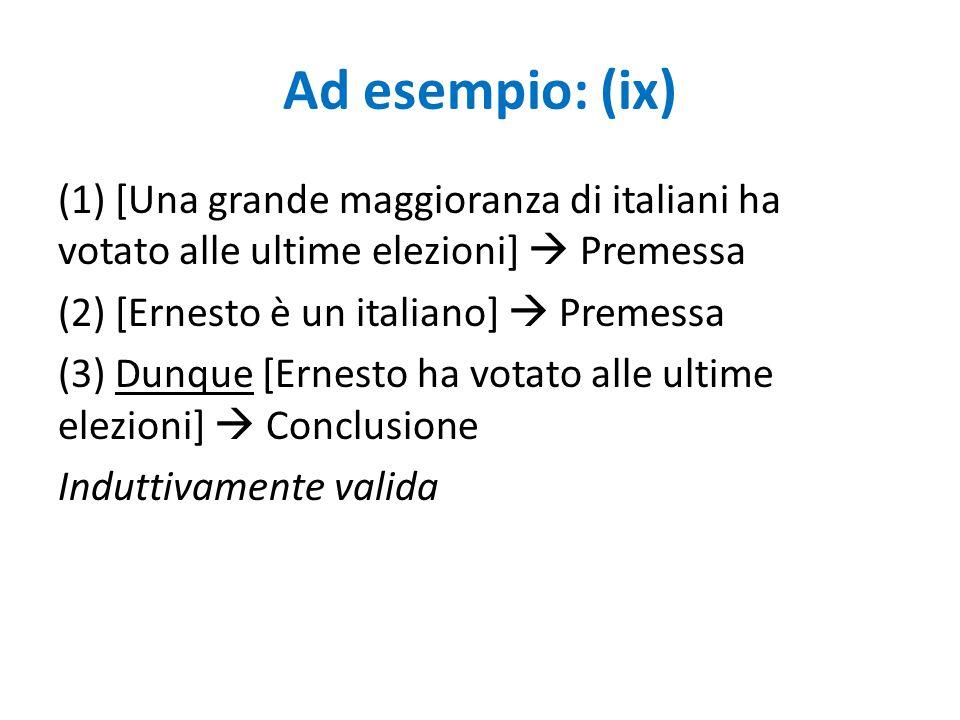 Ad esempio: (ix) (1) [Una grande maggioranza di italiani ha votato alle ultime elezioni]  Premessa (2) [Ernesto è un italiano]  Premessa (3) Dunque