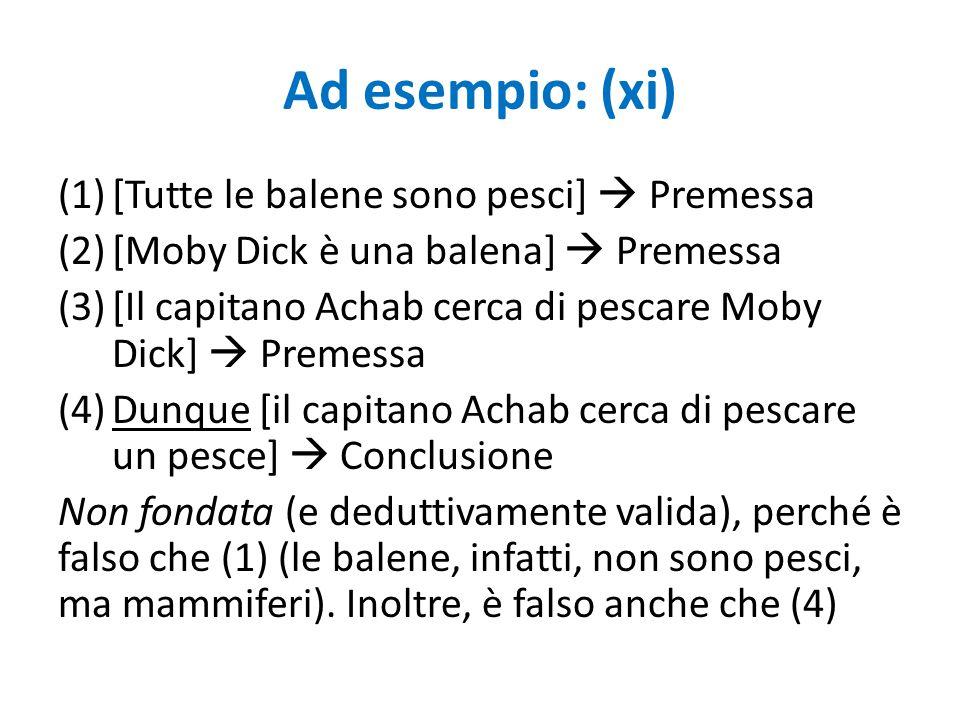 Ad esempio: (xi) (1)[Tutte le balene sono pesci]  Premessa (2)[Moby Dick è una balena]  Premessa (3)[Il capitano Achab cerca di pescare Moby Dick] 