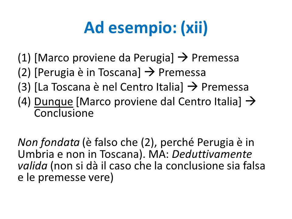 Ad esempio: (xii) (1)[Marco proviene da Perugia]  Premessa (2)[Perugia è in Toscana]  Premessa (3)[La Toscana è nel Centro Italia]  Premessa (4)Dun