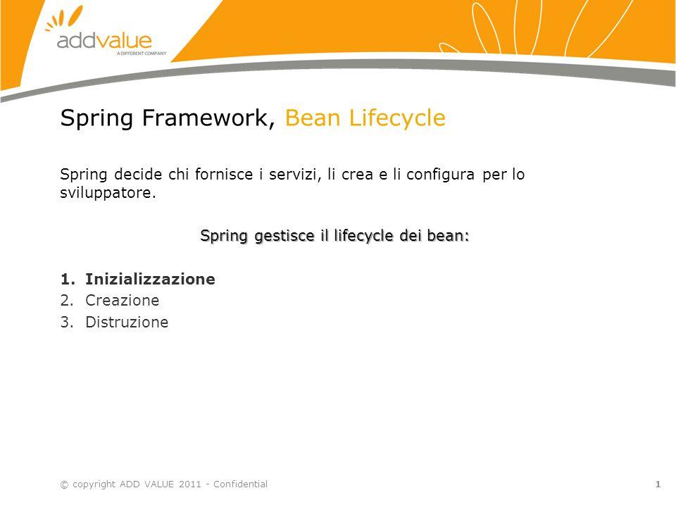 1 Spring Framework, Bean Lifecycle Spring decide chi fornisce i servizi, li crea e li configura per lo sviluppatore. Spring gestisce il lifecycle dei
