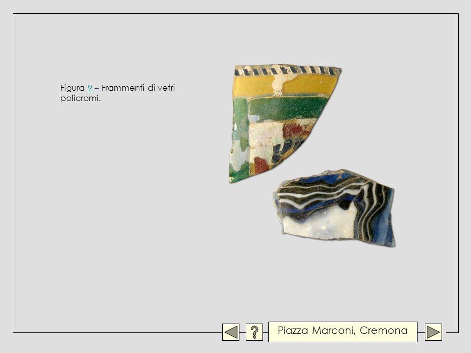 Figura 9 – Frammenti di vetri policromi.9 Piazza Marconi, Cremona