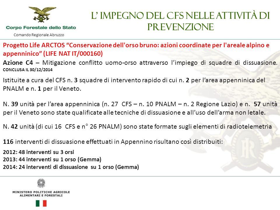 Comando Regionale Abruzzo L' impegno del CFS nelle attività di prevenzione Progetto Life ARCTOS Conservazione dell orso bruno: azioni coordinate per l areale alpino e appenninico (LIFE NAT IT/000160) Azione C4 – Mitigazione conflitto uomo-orso attraverso l'impiego di squadre di dissuasione.