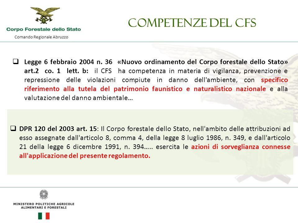 Comando Regionale Abruzzo Competenze del CFS  Legge 6 febbraio 2004 n.