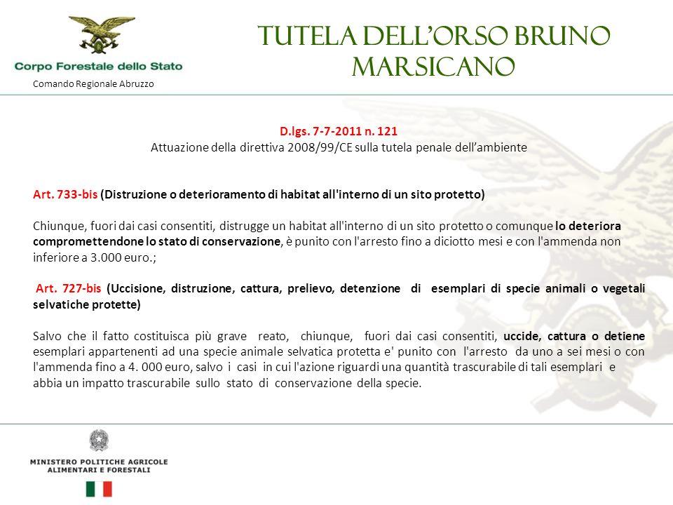 Comando Regionale Abruzzo Tutela dell'orso bruno marsicano D.lgs.