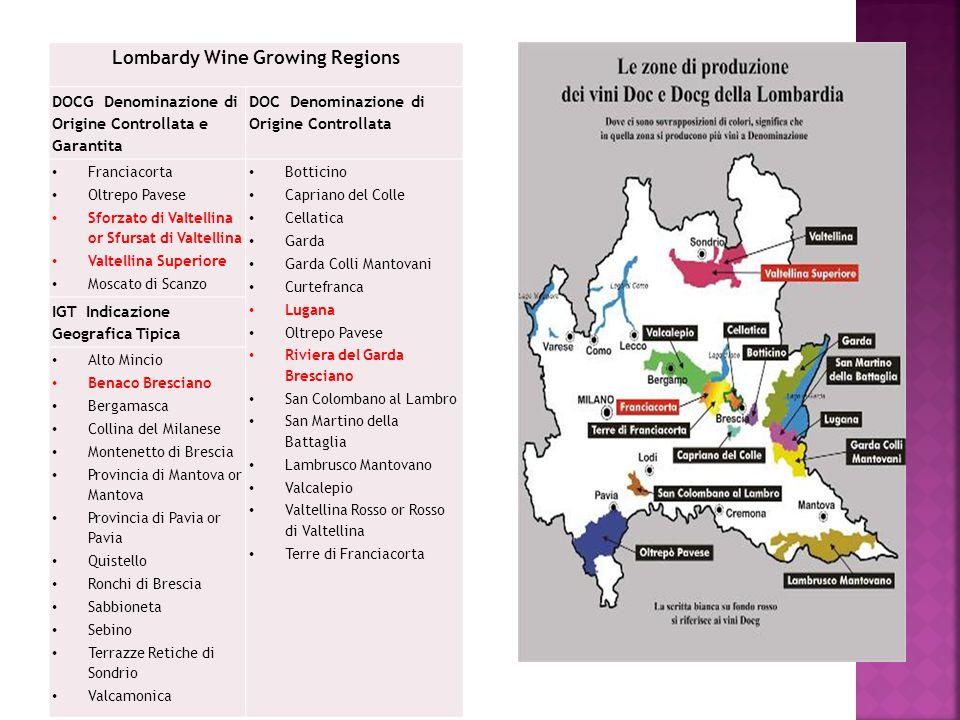 Lombardy Wine Growing Regions DOCG Denominazione di Origine Controllata e Garantita DOC Denominazione di Origine Controllata Franciacorta Oltrepo Pave