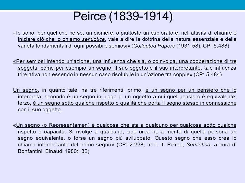 Peirce (1839-1914) «Io sono, per quel che ne so, un pioniere, o piuttosto un esploratore, nell'attività di chiarire e iniziare ciò che io chiamo semio