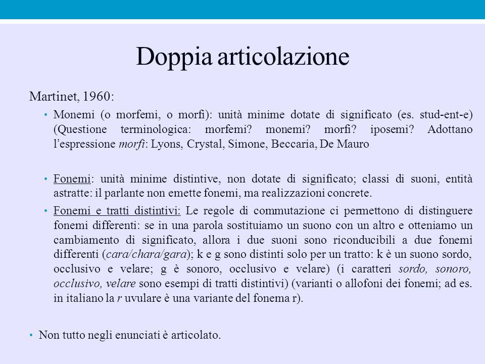 Doppia articolazione Martinet, 1960: Monemi (o morfemi, o morfi): unità minime dotate di significato (es. stud-ent-e) (Questione terminologica: morfem