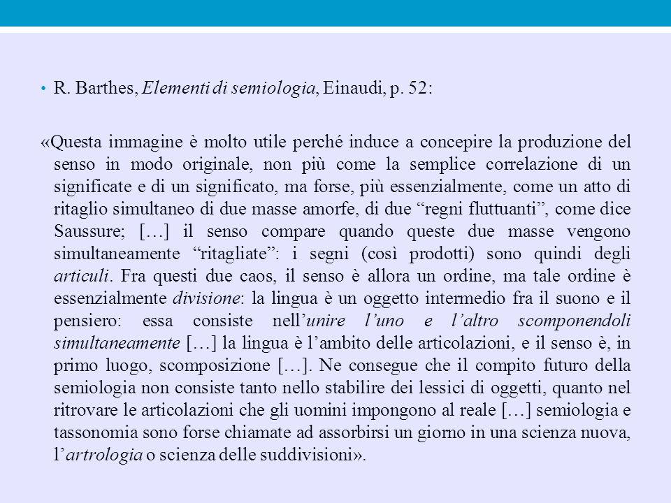 R. Barthes, Elementi di semiologia, Einaudi, p. 52: «Questa immagine è molto utile perché induce a concepire la produzione del senso in modo originale
