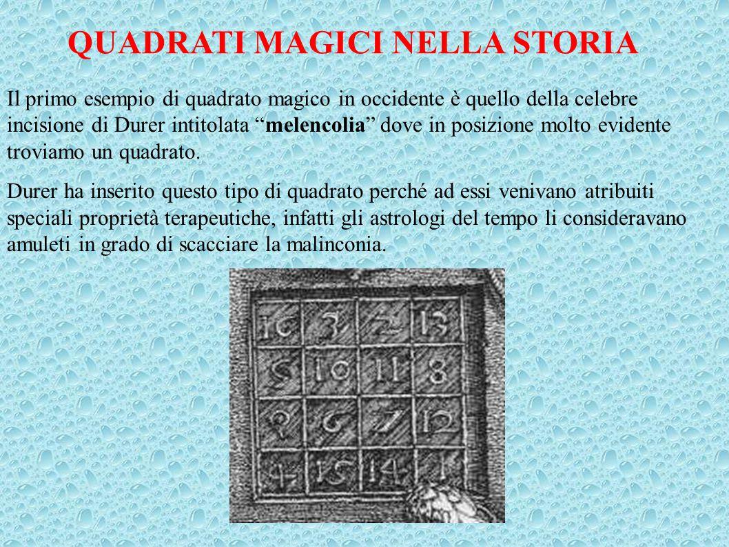 """QUADRATI MAGICI NELLA STORIA Il primo esempio di quadrato magico in occidente è quello della celebre incisione di Durer intitolata """"melencolia"""" dove i"""
