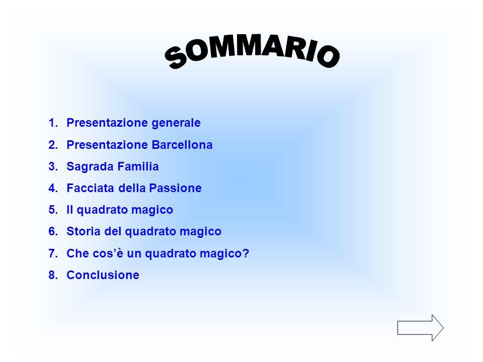 1.Presentazione generale 2.Presentazione Barcellona 3.Sagrada Familia 4.Facciata della Passione 5.Il quadrato magico 6.Storia del quadrato magico 7.Ch