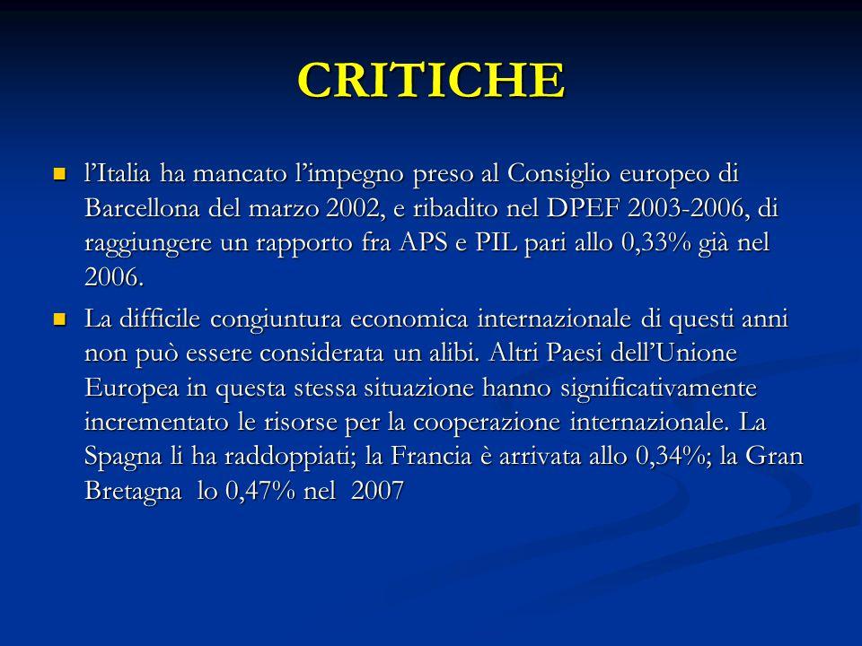 CRITICHE l'Italia ha mancato l'impegno preso al Consiglio europeo di Barcellona del marzo 2002, e ribadito nel DPEF 2003-2006, di raggiungere un rapporto fra APS e PIL pari allo 0,33% già nel 2006.