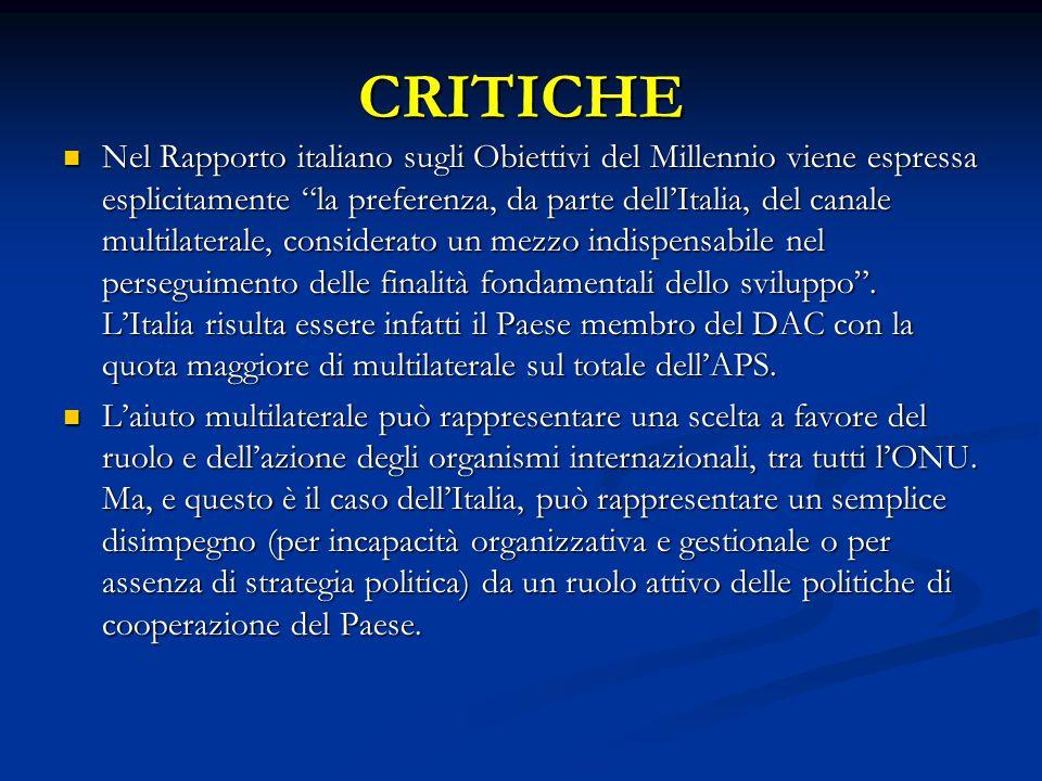 CRITICHE Nel Rapporto italiano sugli Obiettivi del Millennio viene espressa esplicitamente la preferenza, da parte dell'Italia, del canale multilaterale, considerato un mezzo indispensabile nel perseguimento delle finalità fondamentali dello sviluppo .
