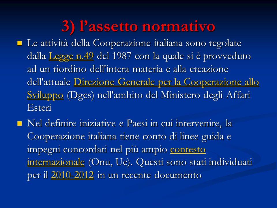 3) l'assetto normativo Le attività della Cooperazione italiana sono regolate dalla Legge n.49 del 1987 con la quale si è provveduto ad un riordino dell intera materia e alla creazione dell attuale Direzione Generale per la Cooperazione allo Sviluppo (Dgcs) nell ambito del Ministero degli Affari Esteri Le attività della Cooperazione italiana sono regolate dalla Legge n.49 del 1987 con la quale si è provveduto ad un riordino dell intera materia e alla creazione dell attuale Direzione Generale per la Cooperazione allo Sviluppo (Dgcs) nell ambito del Ministero degli Affari EsteriLegge n.49Direzione Generale per la Cooperazione allo SviluppoLegge n.49Direzione Generale per la Cooperazione allo Sviluppo Nel definire iniziative e Paesi in cui intervenire, la Cooperazione italiana tiene conto di linee guida e impegni concordati nel più ampio contesto internazionale (Onu, Ue).