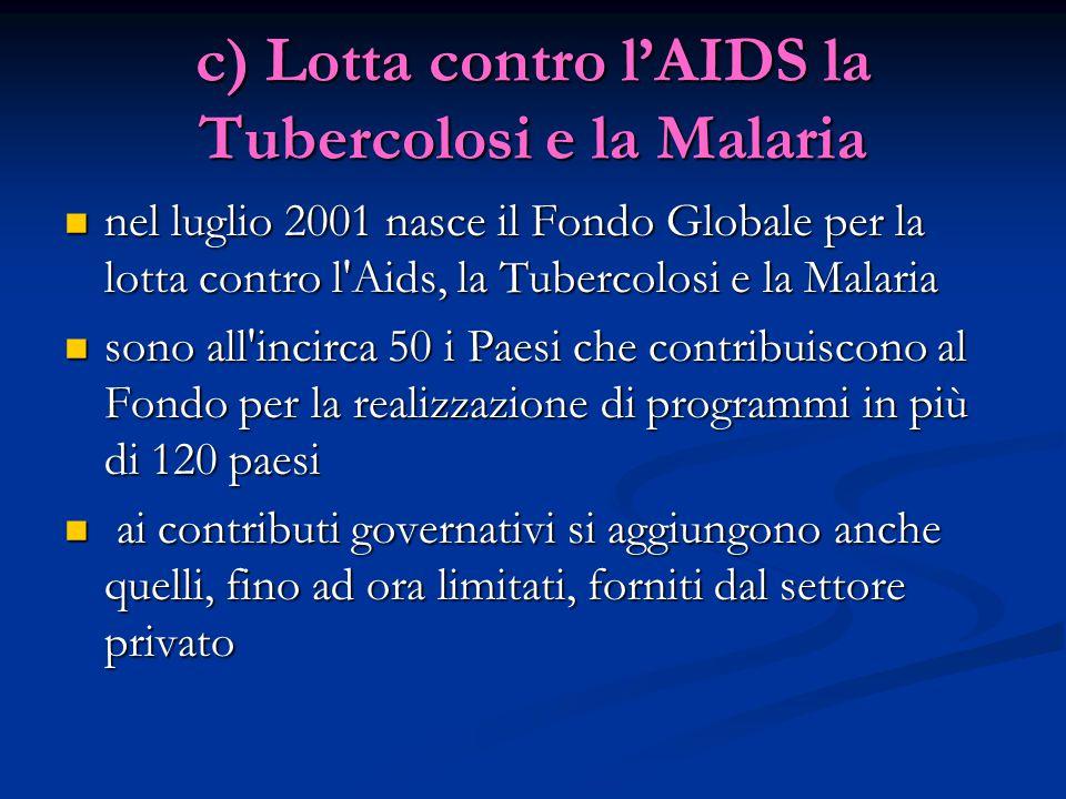 c) Lotta contro l'AIDS la Tubercolosi e la Malaria nel luglio 2001 nasce il Fondo Globale per la lotta contro l Aids, la Tubercolosi e la Malaria nel luglio 2001 nasce il Fondo Globale per la lotta contro l Aids, la Tubercolosi e la Malaria sono all incirca 50 i Paesi che contribuiscono al Fondo per la realizzazione di programmi in più di 120 paesi sono all incirca 50 i Paesi che contribuiscono al Fondo per la realizzazione di programmi in più di 120 paesi ai contributi governativi si aggiungono anche quelli, fino ad ora limitati, forniti dal settore privato ai contributi governativi si aggiungono anche quelli, fino ad ora limitati, forniti dal settore privato