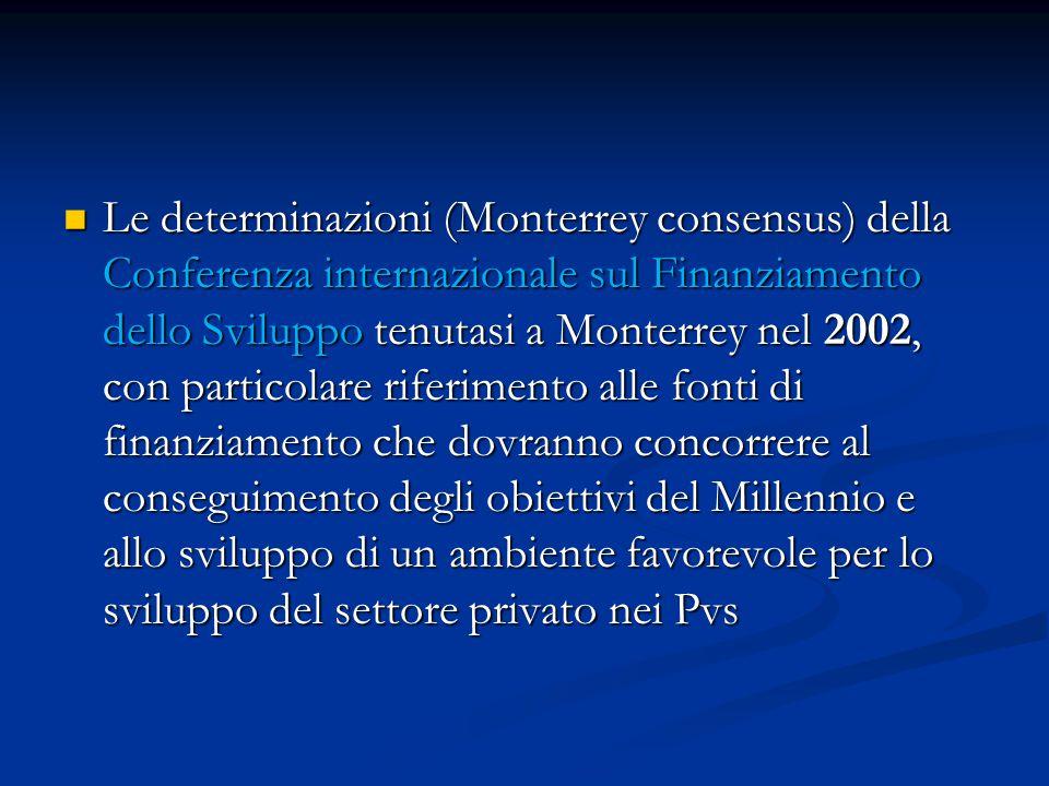 Le determinazioni (Monterrey consensus) della Conferenza internazionale sul Finanziamento dello Sviluppo tenutasi a Monterrey nel 2002, con particolare riferimento alle fonti di finanziamento che dovranno concorrere al conseguimento degli obiettivi del Millennio e allo sviluppo di un ambiente favorevole per lo sviluppo del settore privato nei Pvs Le determinazioni (Monterrey consensus) della Conferenza internazionale sul Finanziamento dello Sviluppo tenutasi a Monterrey nel 2002, con particolare riferimento alle fonti di finanziamento che dovranno concorrere al conseguimento degli obiettivi del Millennio e allo sviluppo di un ambiente favorevole per lo sviluppo del settore privato nei Pvs