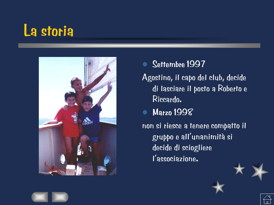 La storia Settembre 1997 Agostino, il capo del club, decide di lasciare il posto a Roberto e Riccardo. Marzo 1998 non si riesce a tenere compatto il g