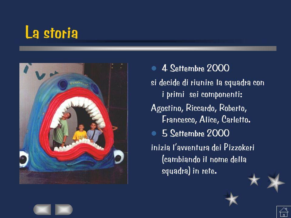 La storia 4 Settembre 2000 si decide di riunire la squadra con i primi sei componenti: Agostino, Riccardo, Roberto, Francesco, Alice, Carletto. 5 Sett