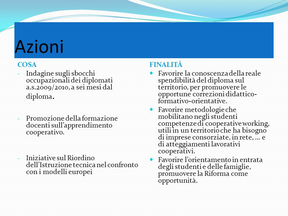Azioni COSA - Indagine sugli sbocchi occupazionali dei diplomati a.s.2009/2010, a sei mesi dal diploma.