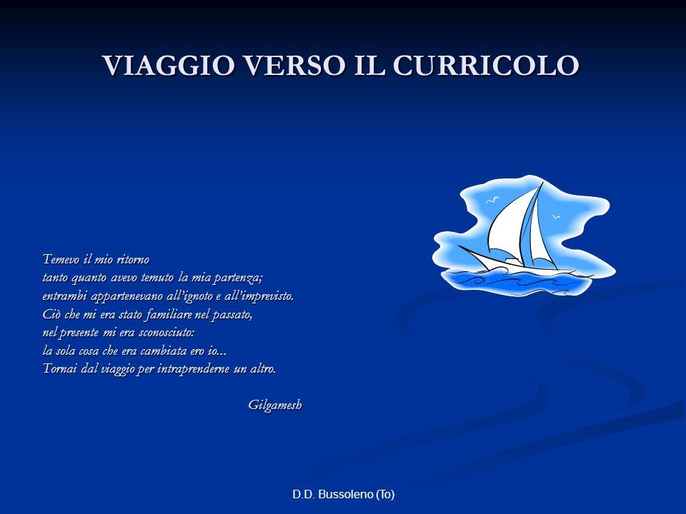 D.D. Bussoleno (To) VIAGGIO VERSO IL CURRICOLO Temevo il mio ritorno tanto quanto avevo temuto la mia partenza; entrambi appartenevano all'ignoto e al