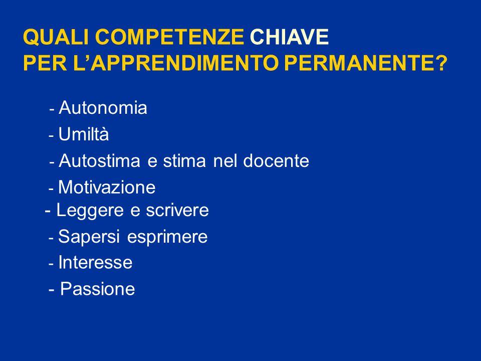 QUALI COMPETENZE CHIAVE PER L'APPRENDIMENTO PERMANENTE.