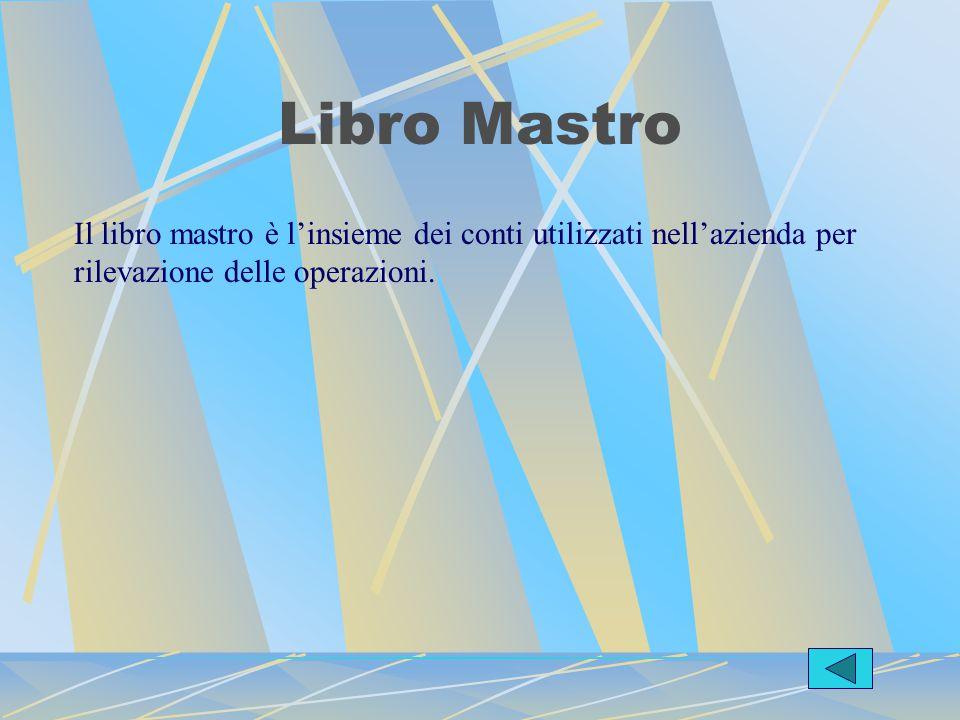 Libro Mastro Il libro mastro è l'insieme dei conti utilizzati nell'azienda per rilevazione delle operazioni.