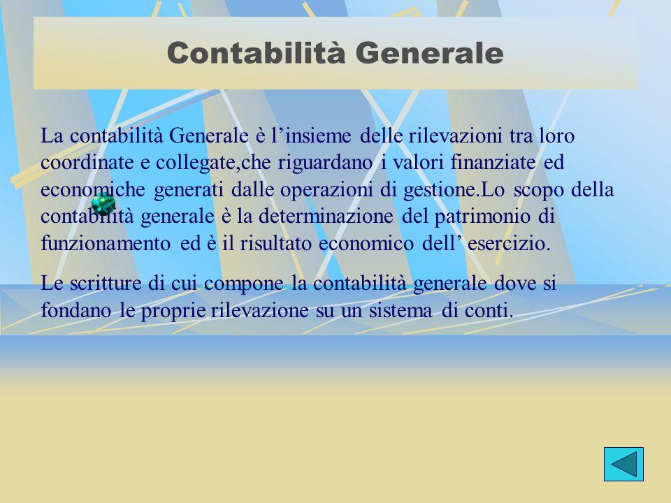 Contabilità Generale La contabilità Generale è l'insieme delle rilevazioni tra loro coordinate e collegate,che riguardano i valori finanziate ed econo