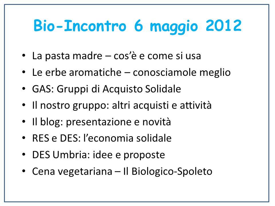 Bio-Incontro 6 maggio 2012 La pasta madre – cos'è e come si usa Le erbe aromatiche – conosciamole meglio GAS: Gruppi di Acquisto Solidale Il nostro gr