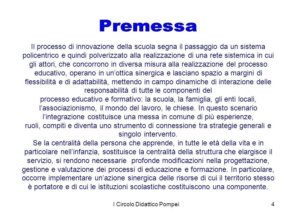 I Circolo Didattico Pompei4 Il processo di innovazione della scuola segna il passaggio da un sistema policentrico e quindi polverizzato alla realizzaz
