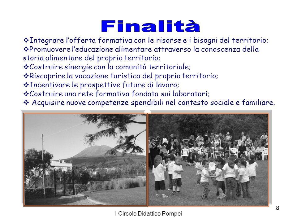 I Circolo Didattico Pompei 8  Integrare l'offerta formativa con le risorse e i bisogni del territorio;  Promuovere l'educazione alimentare attravers