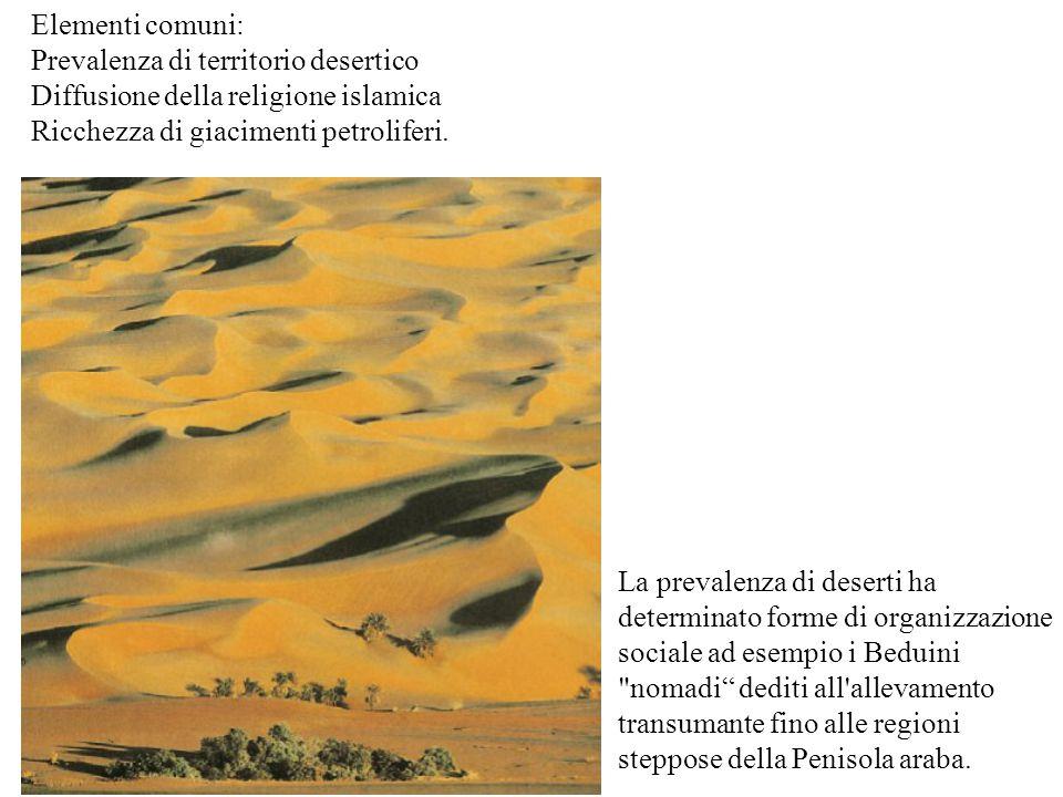 La prevalenza di deserti ha determinato forme di organizzazione sociale ad esempio i Beduini