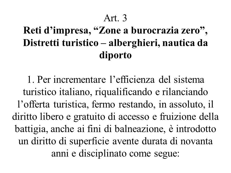 """Art. 3 Reti d'impresa, """"Zone a burocrazia zero"""", Distretti turistico – alberghieri, nautica da diporto 1. Per incrementare l'efficienza del sistema tu"""