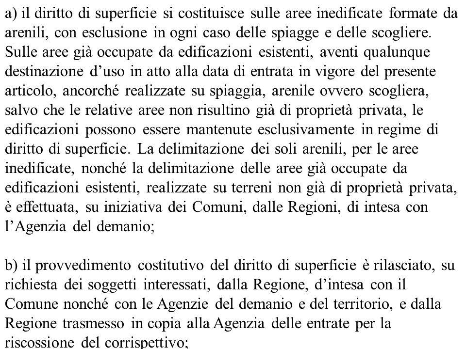 a) il diritto di superficie si costituisce sulle aree inedificate formate da arenili, con esclusione in ogni caso delle spiagge e delle scogliere. Sul