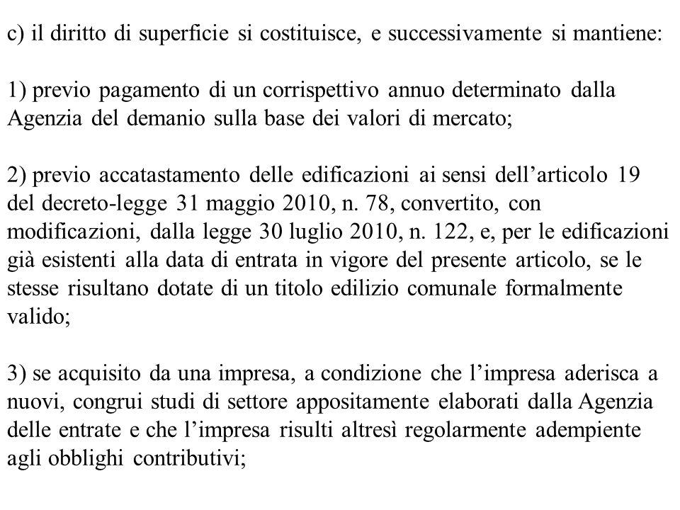 c) il diritto di superficie si costituisce, e successivamente si mantiene: 1) previo pagamento di un corrispettivo annuo determinato dalla Agenzia del