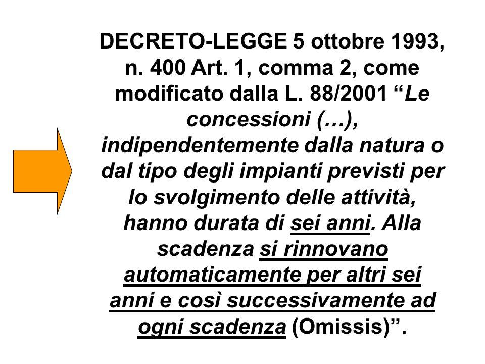 """DECRETO-LEGGE 5 ottobre 1993, n. 400 Art. 1, comma 2, come modificato dalla L. 88/2001 """"Le concessioni (…), indipendentemente dalla natura o dal tipo"""