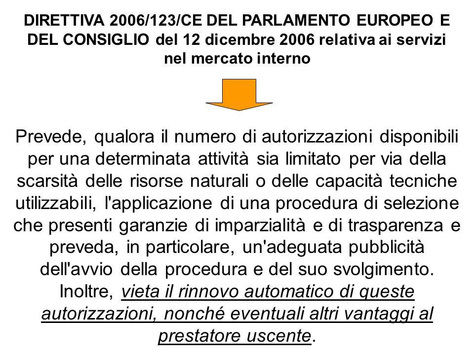 DIRETTIVA 2006/123/CE DEL PARLAMENTO EUROPEO E DEL CONSIGLIO del 12 dicembre 2006 relativa ai servizi nel mercato interno Prevede, qualora il numero d