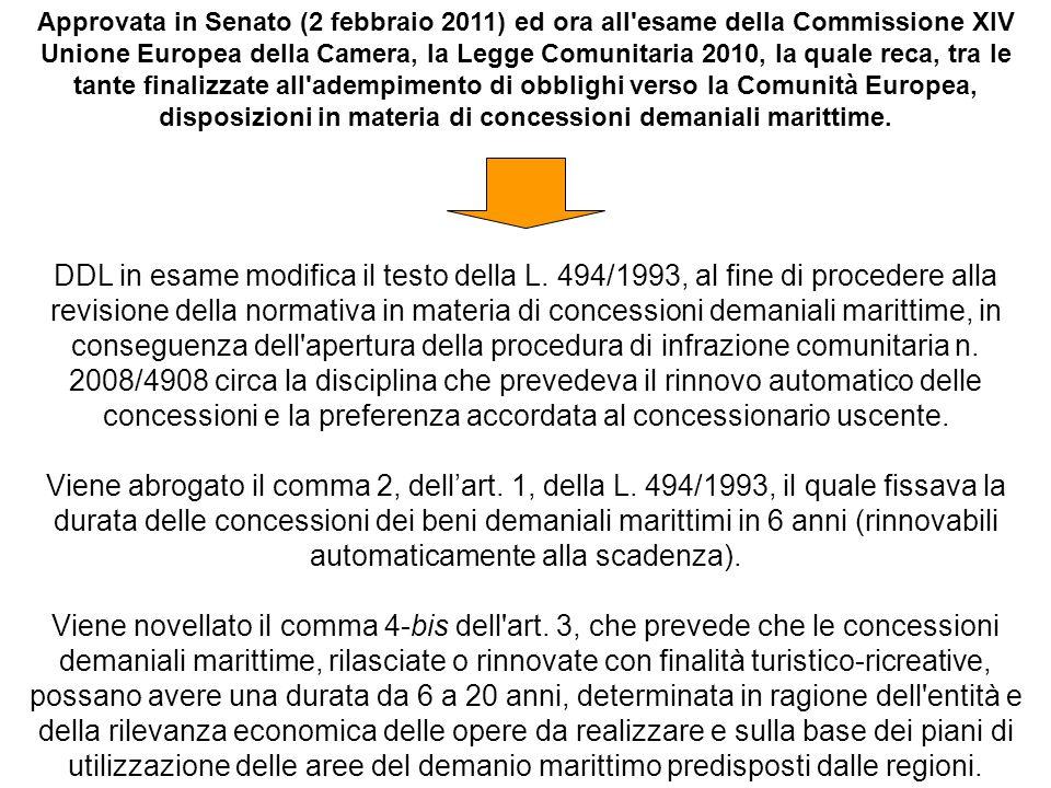 Approvata in Senato (2 febbraio 2011) ed ora all'esame della Commissione XIV Unione Europea della Camera, la Legge Comunitaria 2010, la quale reca, tr