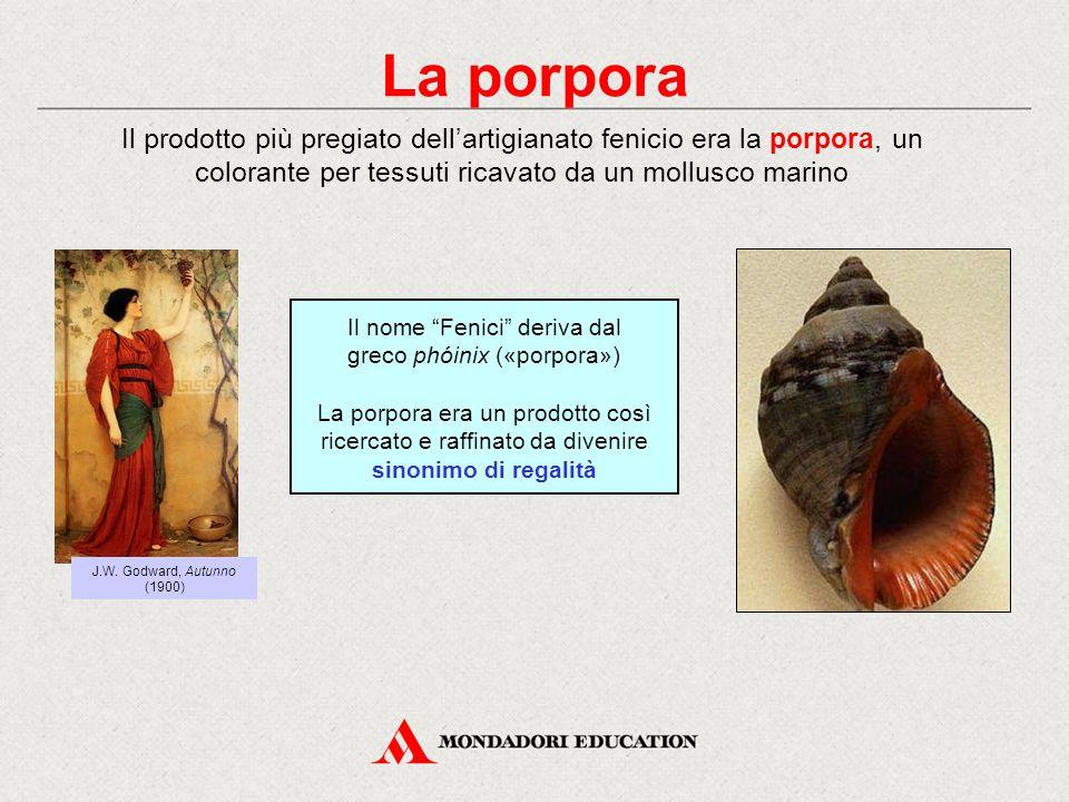 La porpora Il prodotto più pregiato dell'artigianato fenicio era la porpora, un colorante per tessuti ricavato da un mollusco marino J.W. Godward, Aut