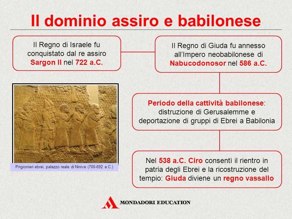 Il dominio assiro e babilonese Il Regno di Israele fu conquistato dal re assiro Sargon II nel 722 a.C. Il Regno di Giuda fu annesso all'Impero neobabi