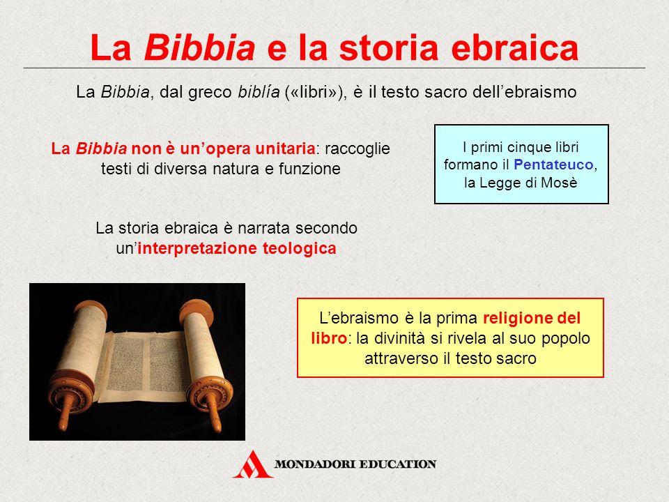 La Bibbia e la storia ebraica La Bibbia, dal greco biblía («libri»), è il testo sacro dell'ebraismo L'ebraismo è la prima religione del libro: la divi