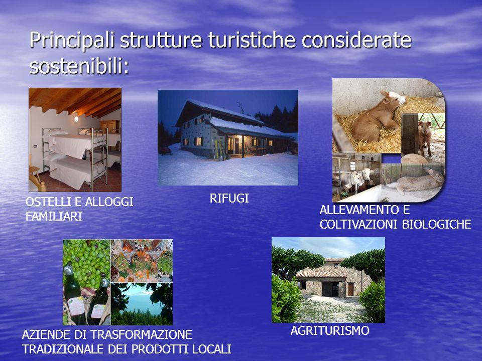 Principali strutture turistiche considerate sostenibili: OSTELLI E ALLOGGI FAMILIARI RIFUGI ALLEVAMENTO E COLTIVAZIONI BIOLOGICHE AZIENDE DI TRASFORMAZIONE TRADIZIONALE DEI PRODOTTI LOCALI AGRITURISMO