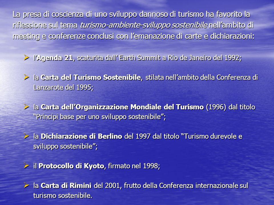 La presa di coscienza di uno sviluppo dannoso di turismo ha favorito la riflessione sul tema turismo-ambiente-sviluppo sostenibile nell'ambito di meeting e conferenze conclusi con l'emanazione di carte e dichiarazioni:  l'Agenda 21, scaturita dall' Earth Summit a Rio de Janeiro del 1992;  la Carta del Turismo Sostenibile, stilata nell'ambito della Conferenza di Lanzarote del 1995;  la Carta dell'Organizzazione Mondiale del Turismo (1996) dal titolo Principi base per uno sviluppo sostenibile ;  la Dichiarazione di Berlino del 1997 dal titolo Turismo durevole e sviluppo sostenibile ;  il Protocollo di Kyoto, firmato nel 1998;  la Carta di Rimini del 2001, frutto della Conferenza internazionale sul turismo sostenibile.