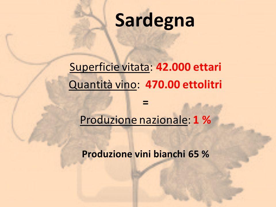 Sardegna Superficie vitata: 42.000 ettari Quantità vino: 470.00 ettolitri = Produzione nazionale: 1 % Produzione vini bianchi 65 %
