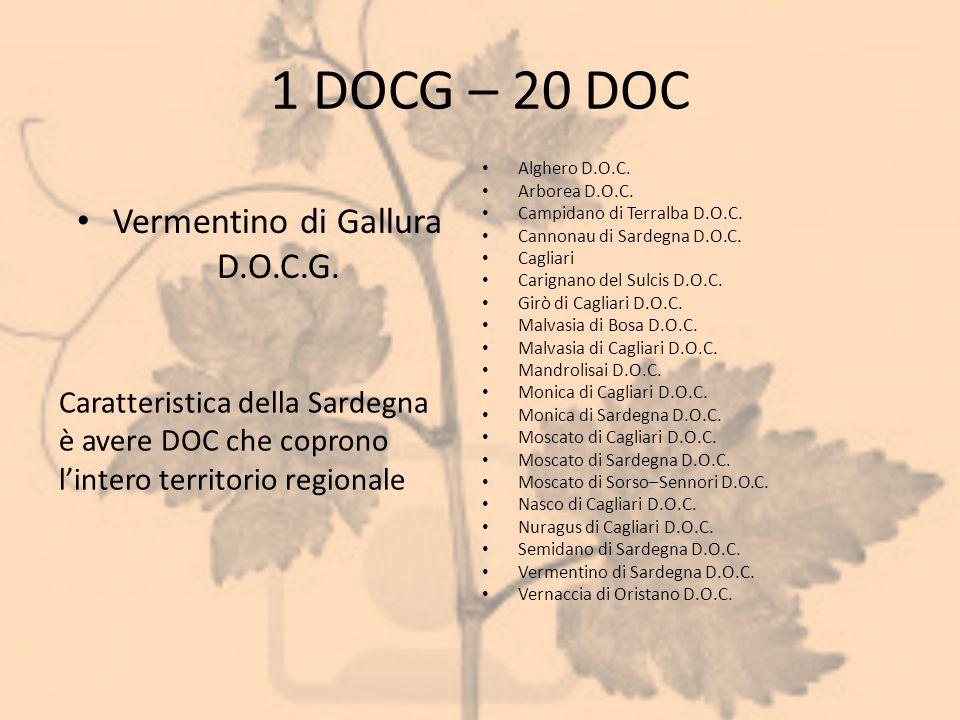 1 DOCG – 20 DOC Vermentino di Gallura D.O.C.G. Alghero D.O.C. Arborea D.O.C. Campidano di Terralba D.O.C. Cannonau di Sardegna D.O.C. Cagliari Carigna