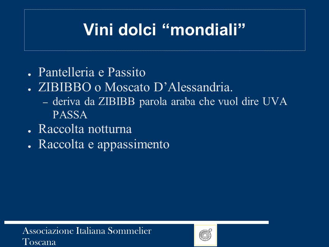"Associazione Italiana Sommelier Toscana Vini dolci ""mondiali"" ● Pantelleria e Passito ● ZIBIBBO o Moscato D'Alessandria. – deriva da ZIBIBB parola ara"