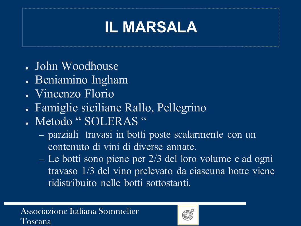 Associazione Italiana Sommelier Toscana IL MARSALA ● John Woodhouse ● Beniamino Ingham ● Vincenzo Florio ● Famiglie siciliane Rallo, Pellegrino ● Meto