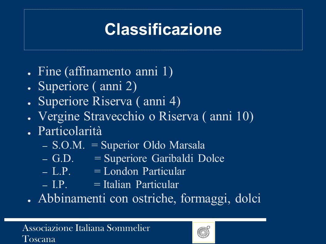 Associazione Italiana Sommelier Toscana Classificazione ● Fine (affinamento anni 1) ● Superiore ( anni 2) ● Superiore Riserva ( anni 4) ● Vergine Stra