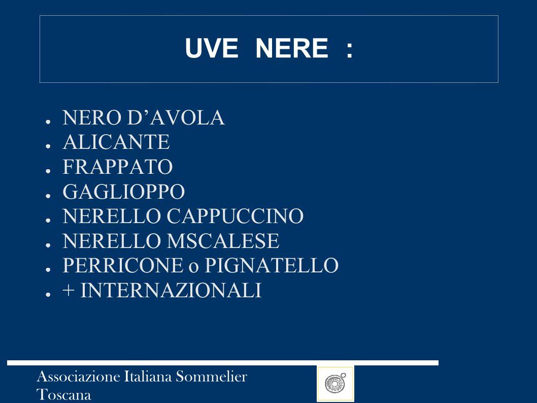 Associazione Italiana Sommelier Toscana UVE NERE : ● NERO D'AVOLA ● ALICANTE ● FRAPPATO ● GAGLIOPPO ● NERELLO CAPPUCCINO ● NERELLO MSCALESE ● PERRICON