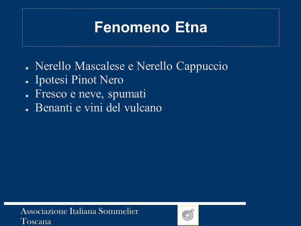 Associazione Italiana Sommelier Toscana Fenomeno Etna ● Nerello Mascalese e Nerello Cappuccio ● Ipotesi Pinot Nero ● Fresco e neve, spumati ● Benanti