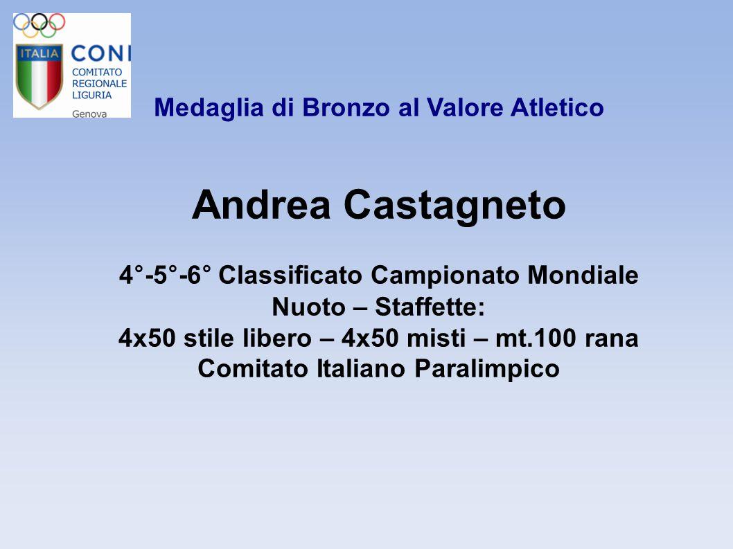 Medaglia di Bronzo al Valore Atletico Andrea Castagneto 4°-5°-6° Classificato Campionato Mondiale Nuoto – Staffette: 4x50 stile libero – 4x50 misti –