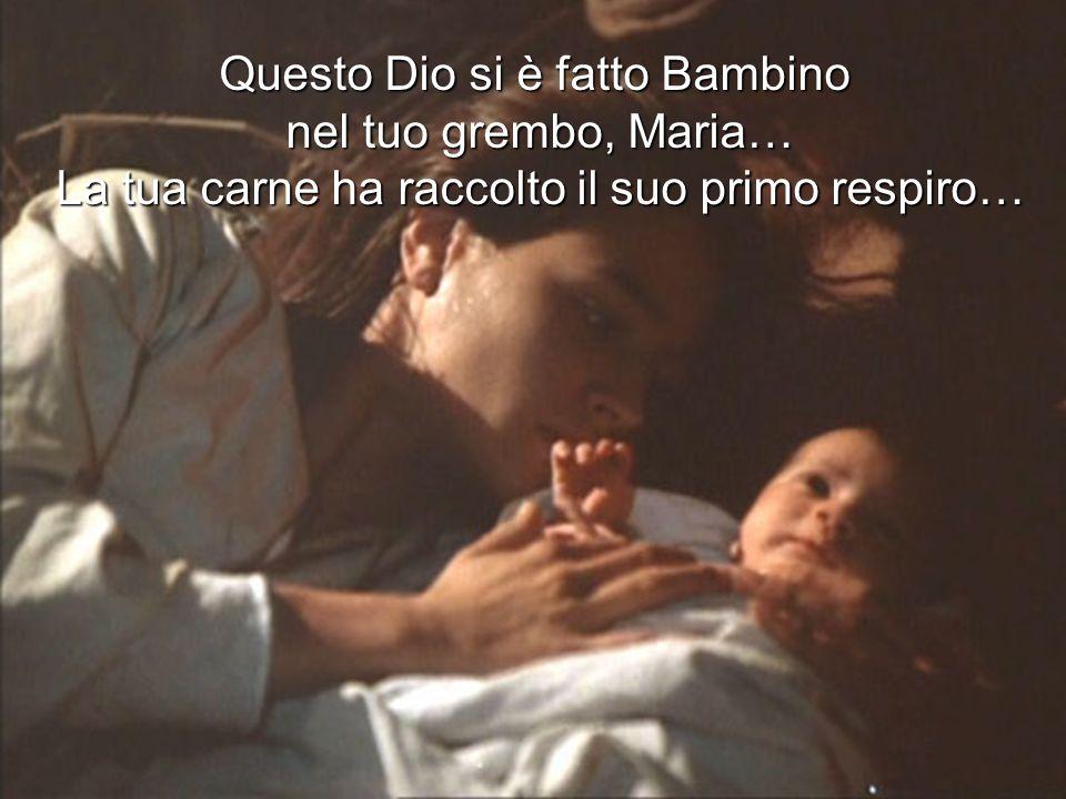 Questo Dio si è fatto Bambino nel tuo grembo, Maria… La tua carne ha raccolto il suo primo respiro…